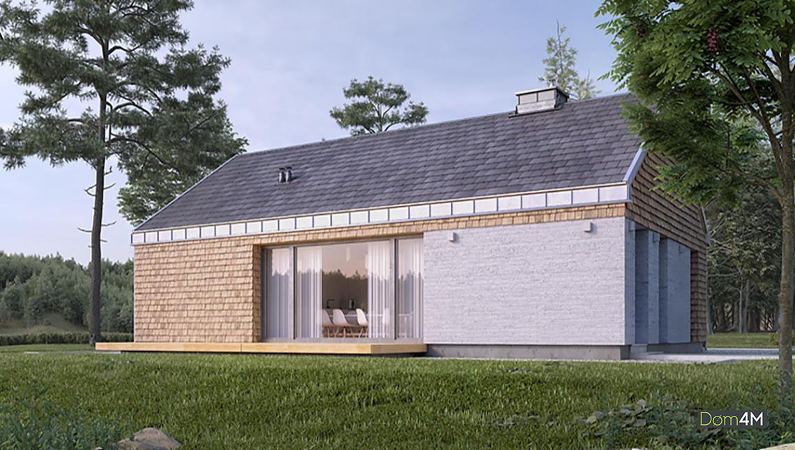 Современный дачный коттедж в стиле барнхаус общей площадью 73 кв. м