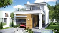 Живописный двухэтажный дом в стиле минимализма с гаражом для одного автомобиля общей площадью 181 кв. м, жилой 89 кв. м