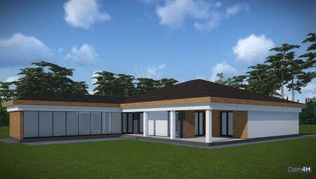 План одноэтажного коттеджа Г-образной формы общей площадью 232 кв. м, жилой 132 кв. м