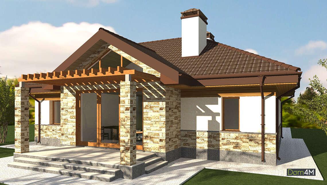 Проект красочного одноэтажного дома с облицовкой декоративным камнем общей площадью 130 кв. м, жилой 61 кв. м