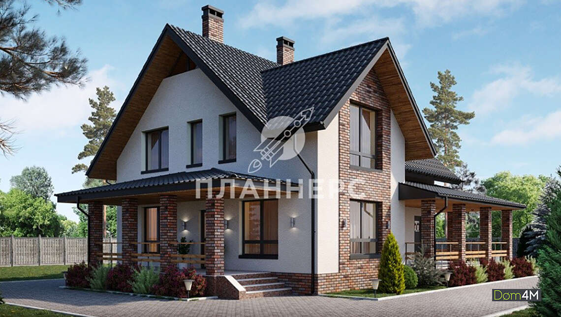 Схема двухэтажного дома площадью 178 кв. м с восхитительным фасадом и открытыми террасами