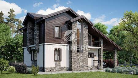 Проект двухэтажного дома площадью 178 кв.м с террасой и французскими балконами