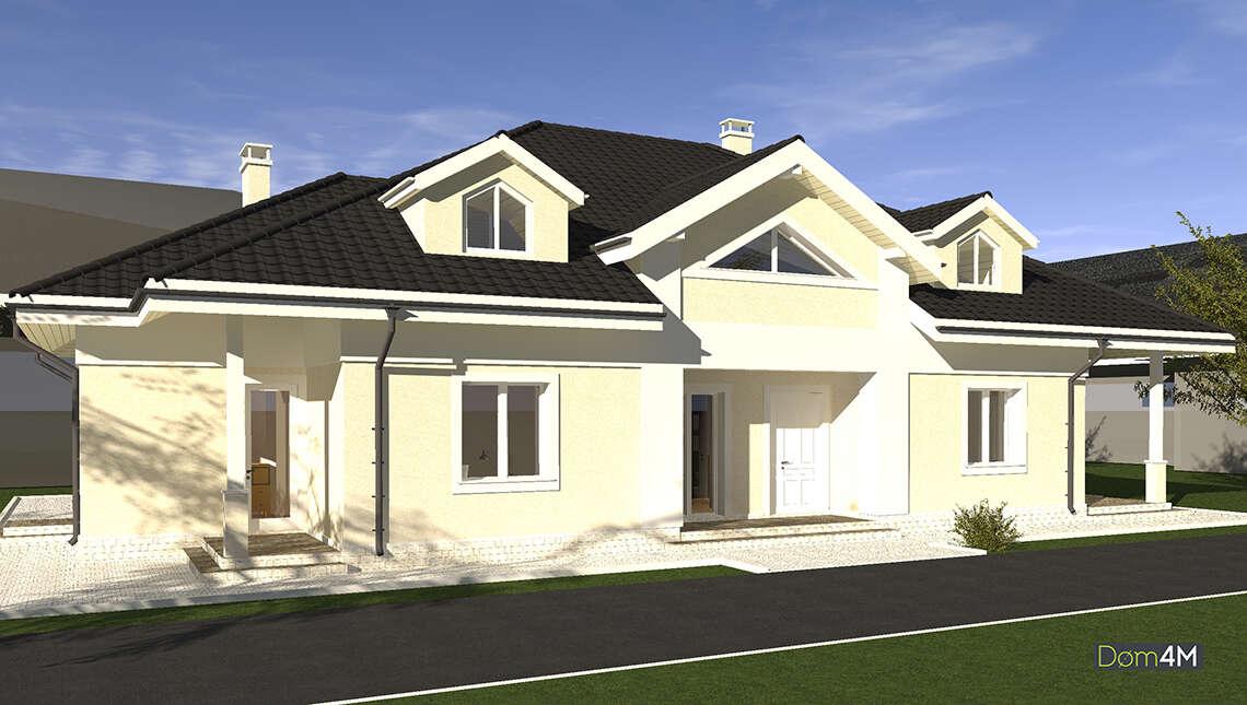 Схема одноэтажного дома площадью 248 кв. м с привлекательным экстерьером