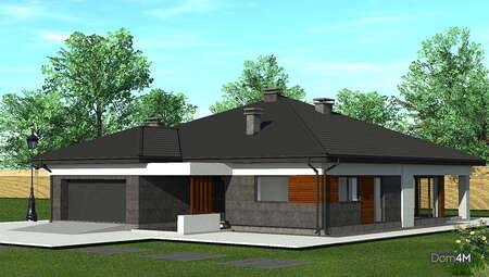 Симпатичный одноэтажный дом с пристроенным гаражом