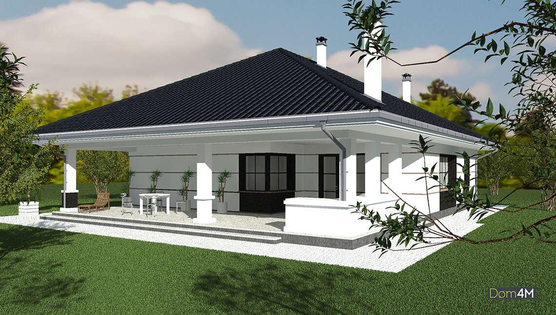 Схема коттеджа площадью 170 кв. м с цокольным этажом и стильной террасой