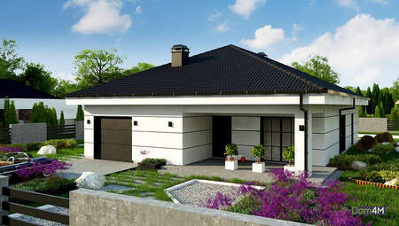 Схема одноэтажного коттеджа площадью 164 кв. м для небольшого или узкого участка