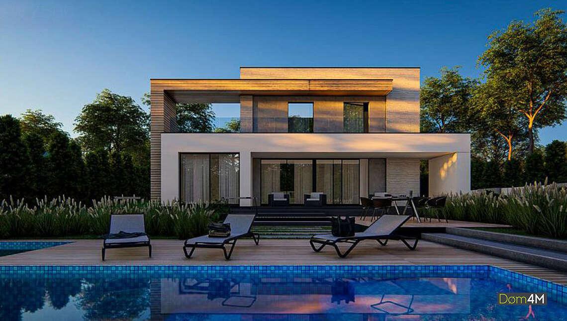 План дома в стиле минимализм площадью 224 кв. м с гаражом на две машины
