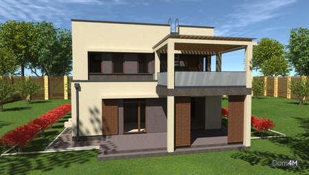 Схема дома в духе минимализма площадью 148 кв. м с четырьмя спальнями