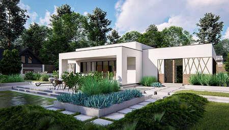Белоснежный дом в стиле минимализма с просторным гаражом