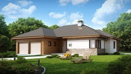 Проект одноэтажного дома с кирпичным фасадом и с гаражом для двух авто