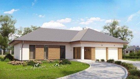 Проект 1-этажного дома с фронтальным гаражом для двух машин