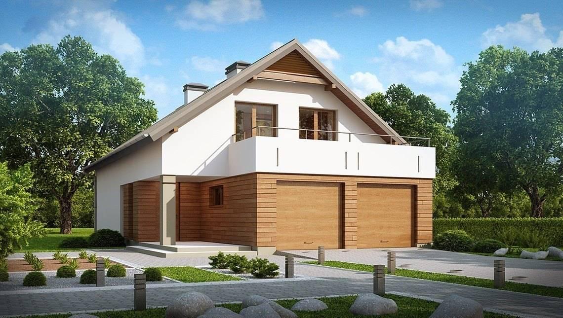 Дачный дом с мансардой и террасой над гаражом