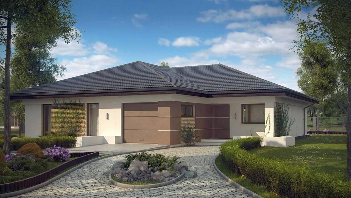 Проект классического одноэтажного дома с гаражом для 1-го автомобиля