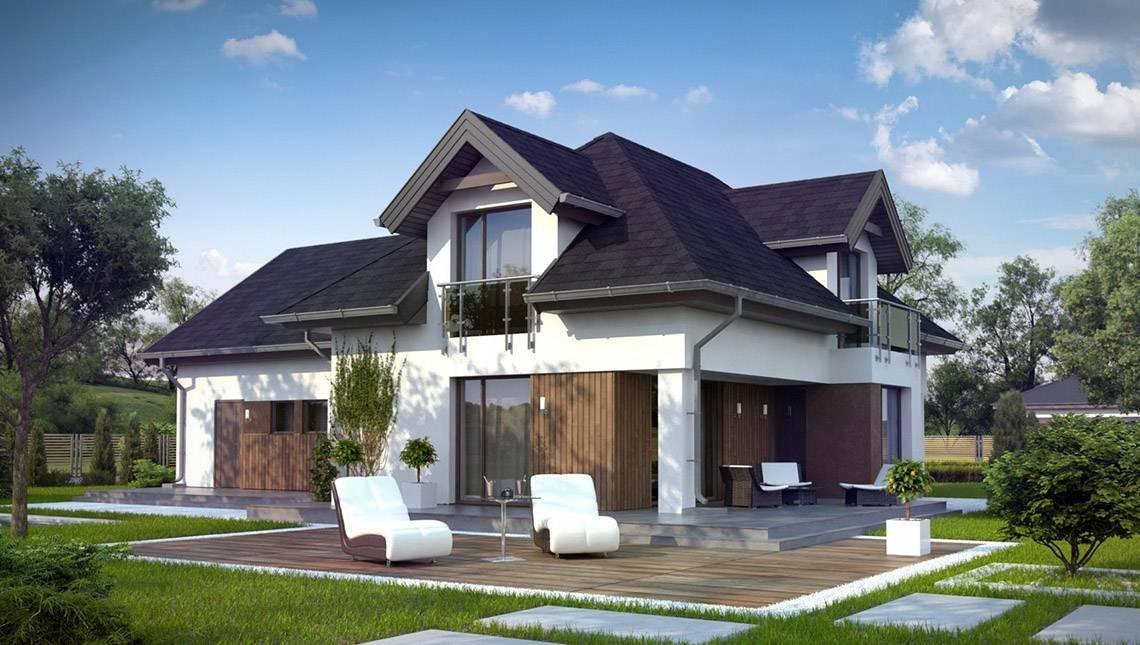 Проект дома с оригинальными окнами и гаражом на 2 авто