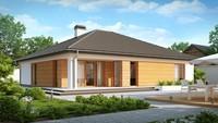 Проект одноэтажного дома с выступающим фронтальным гаражом