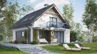 Проект небольшого узкого дома с мансардой в традиционном стиле