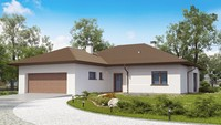 Проект классического одноэтажного дома с гаражом для двух автомобилей