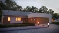 Проект одноэтажного дома простой формы с удобным гаражом для двух авто
