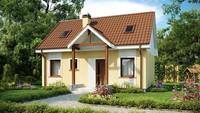 Проект яркого классического дома с двускатной крышей
