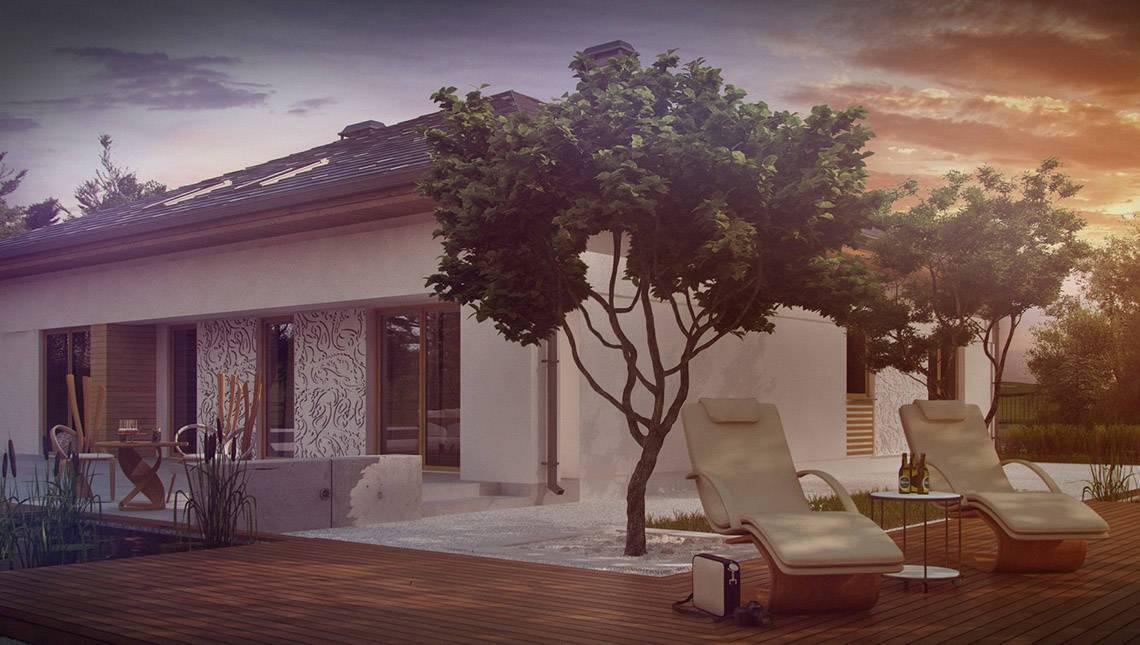 Проект коттеджа с многоскатной крышей и мансардой свободной планировки