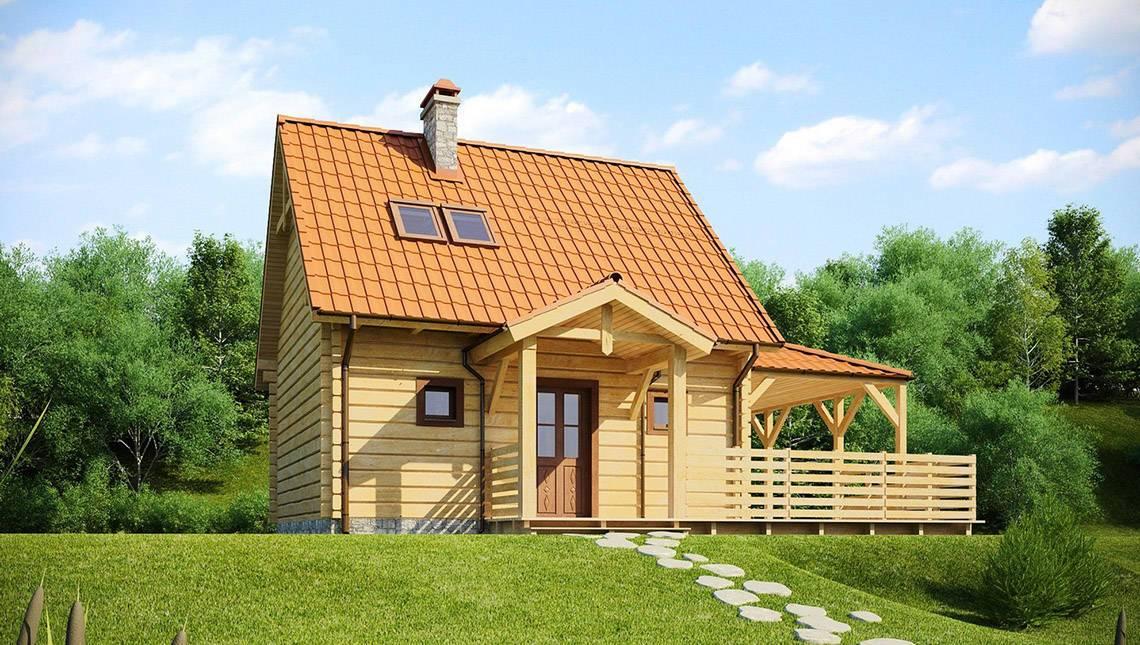 Проект коттеджа с деревянным фасадом и боковой террасой