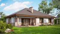 Традиционны одноэтажный проект дома с кирпичным фасадом