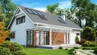 Проект загородного дома с красивой мансардой и встроенным гаражом