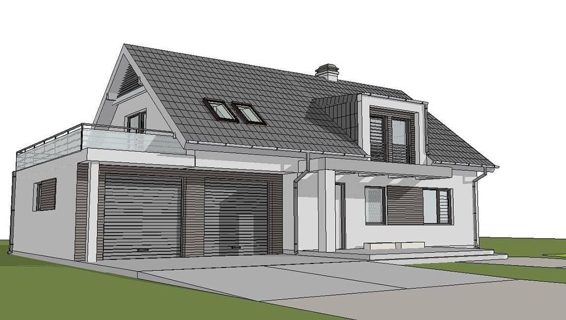 Проект светлого уютного дома с мансардой и гаражом для двух авто