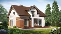 Проект дома с красивой оригинальной мансардой