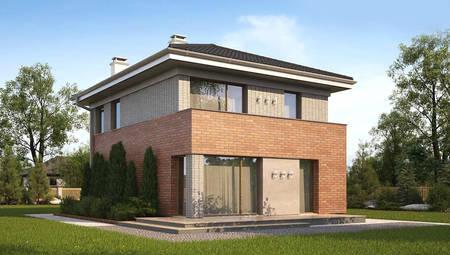 Проект современного коттеджа с кирпичным фасадом