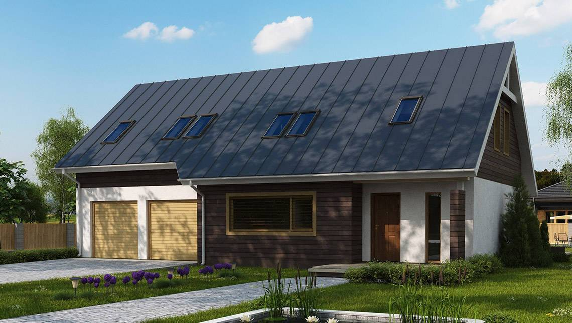 Классический проект мансардного дома со сдвоенным гаражом