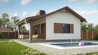 Проект удобной бани с террасой и бассейном