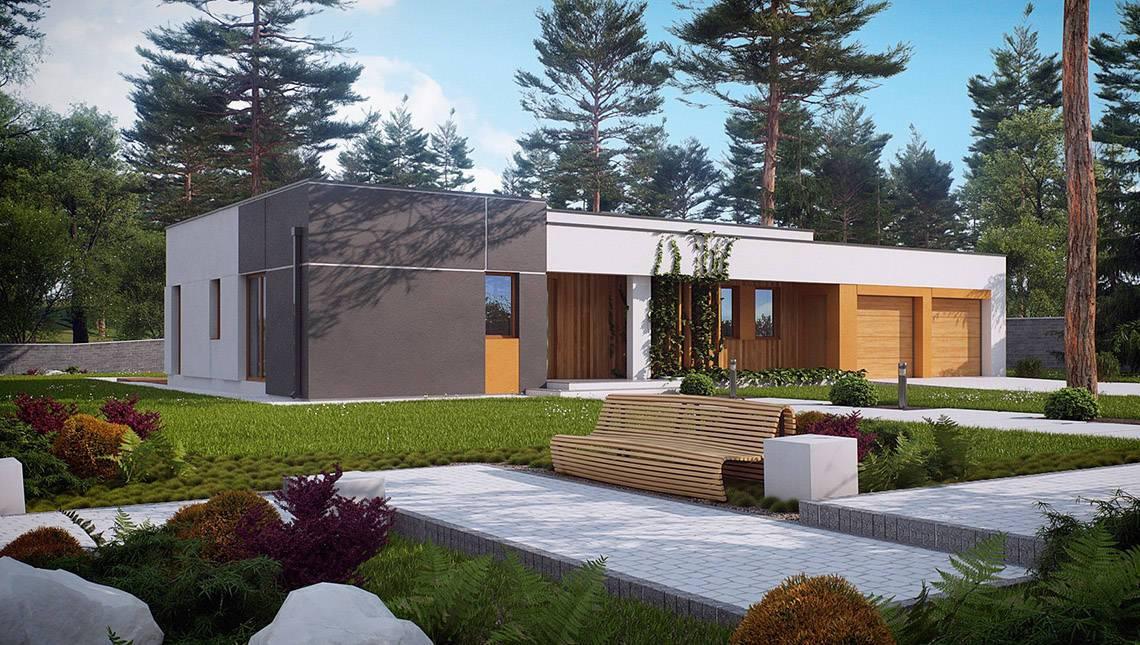 Проект одноэтажного особнячка в стиле хай-тек с гаражом на 2 машины