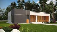 Стильный проект современного одноэтажного коттеджа хай-тек с плоской крышей