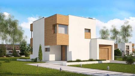 Проект современного компактного дома с гаражом