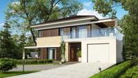 Двухэтажный дом в стиле модерн с гаражом