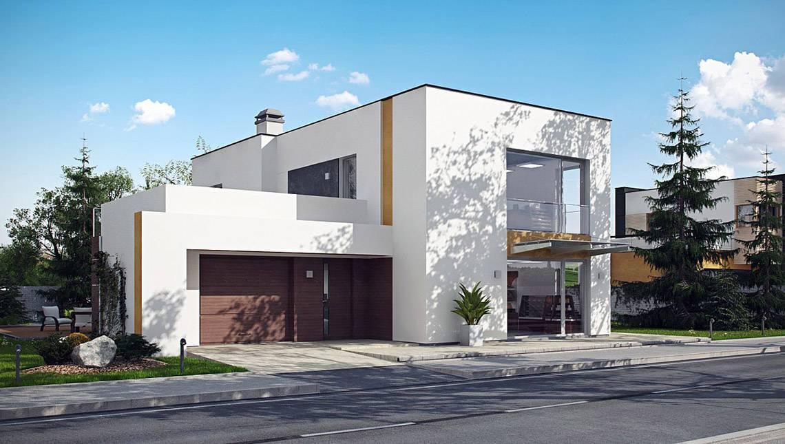 Аккуратный двухэтажный коттедж с плоской крышей