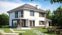 Проект двухэтажного классического коттеджа с встроенным гаражом