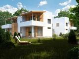 Проект особняка на две семьи в стиле хай-тек с плоской крышей