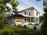 Проект двухэтажного коттеджа с кирпичным фасадом и большой террасой