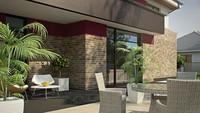 Проект двухэтажного современного дома с большим гаражом и баней