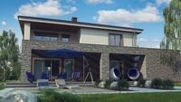 Проект 2-х этажного дома с натуральным камнем в фасаде