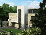 Стильный хай-тек особняк с тремя спальнями и большой террасой для наклонного участка