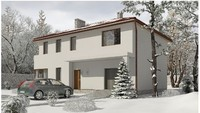 Проект двухэтажной просторной усадьбы с гаражом