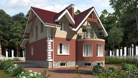 Оригинальный загородный коттедж с подвалом и кирпичным фасадом