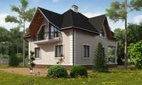 Проект 1,5-этажной загородной усадьбы с красивыми балконами