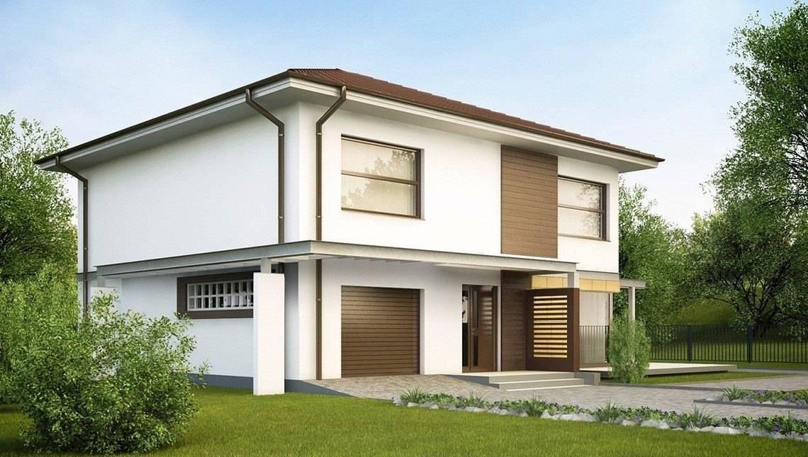 Проект простого двухэтажного дома с пристроенным гаражом