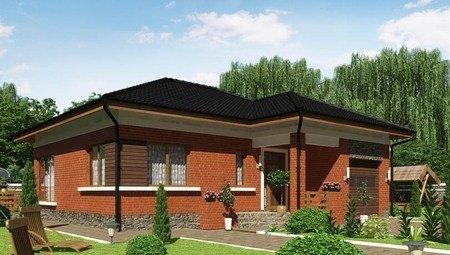 Проект усадьбы с кирпичным фасадом, со встроенным гаражом и сауной