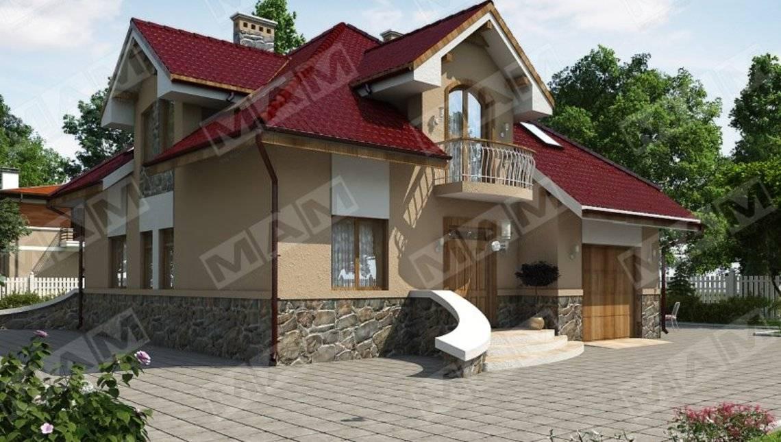 Стильный дом в классическом стиле с мансардой и гаражом