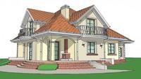 Проект классического просторного коттеджа с гаражом и балконами